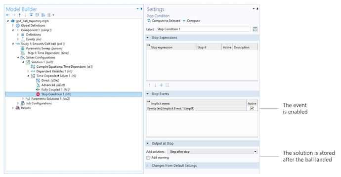 A screenshot of the golf ball model tree on the left and the Stop Condition Settings window on the right, with the Stop Expressions, Stop Events, and Output at Stop sections expanded.