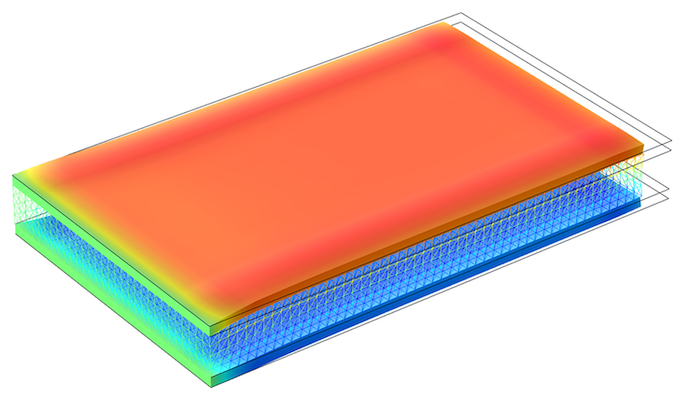 An image of a layered shell model with a piezoelectric layer shown in blue in the middle.