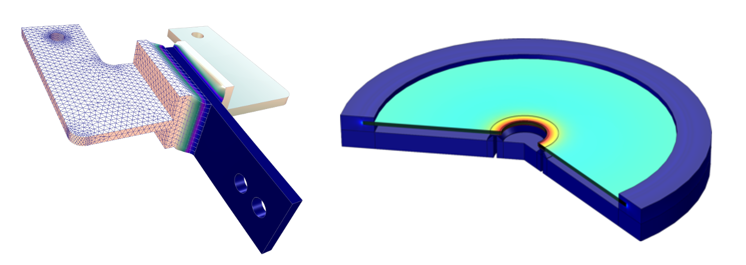 Side-by-side simulation results showing the mesh and displacement of a viscoelastic structural damper and a piezoelectric valve.